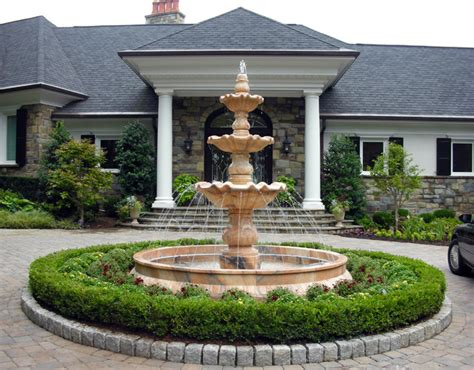 Front Patio Decor Ideas tiered marble fountain traditional exterior dc metro