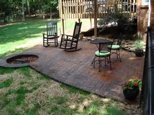 Cedar Outdoor Table Stamped Concrete Patio With Fire Pit