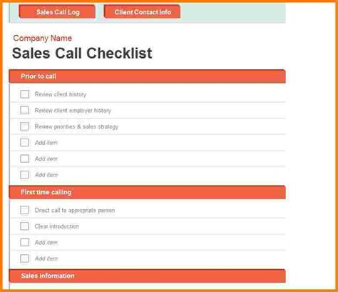 sales call list template call log sheet template images