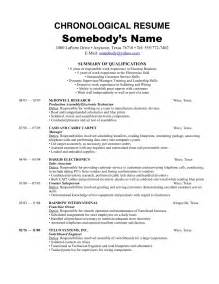sample chronological resume template recentresumes com