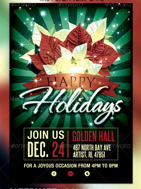 amazing holiday party flyer templates vector eps psd