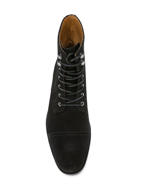 Handcrafted Boots - handcrafted mens fashion black suede lace up boots