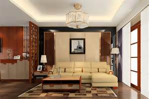 minimalist living room wooden partition 3d