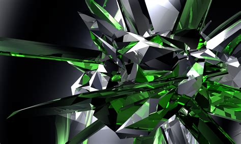wallpaper crystal green digital art full hd wallpaper and background image