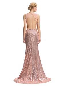 Evelyn sequined rose gold evening gown