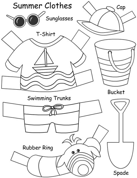 clothes for different seasons worksheet paper doll activity for lesson on different types of