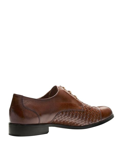where to find oxford shoes lyst cole haan jagger woven leather oxford shoes in brown