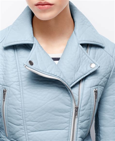 Parka Baby Blue faux leather jacket in blue lyst