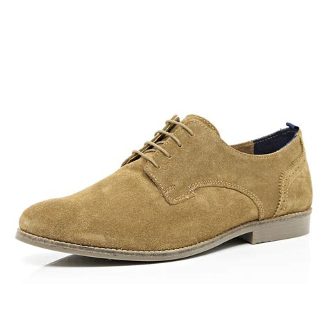 light brown shoe river island light brown suede lace up shoes in brown for
