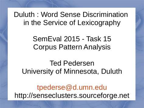 corpus pattern analysis hanks duluth word sense discrimination in the service of