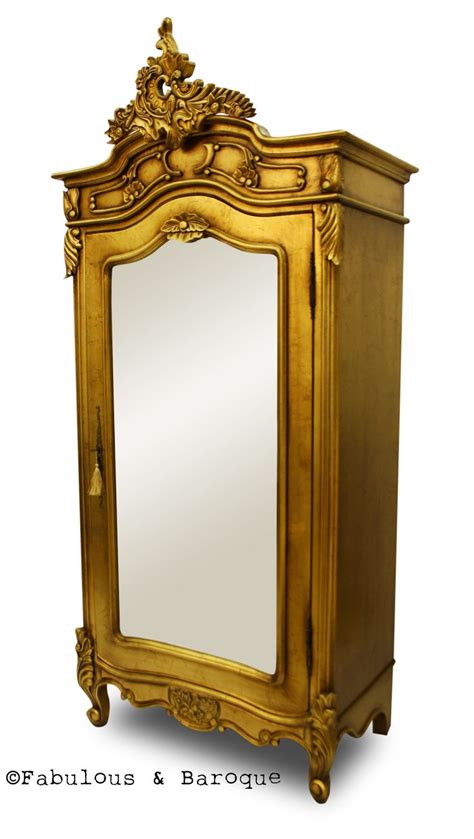 single door armoire with mirror christelle single door mirrored wardrobe gold leaf