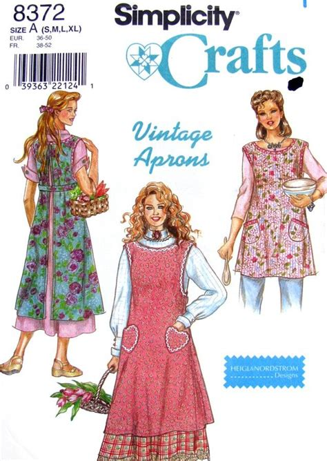 apron pattern simplicity vintage style full apron sewing pattern simplicity 8372
