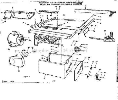 table saw replacement parts craftsman 113298030 parts list and diagram