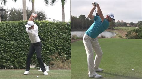 golf swing face on slow motion dustin johnson long driver golf swing synced reg slow