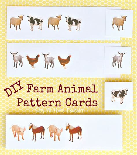 animal pattern games farm math activities with free printable pattern cards