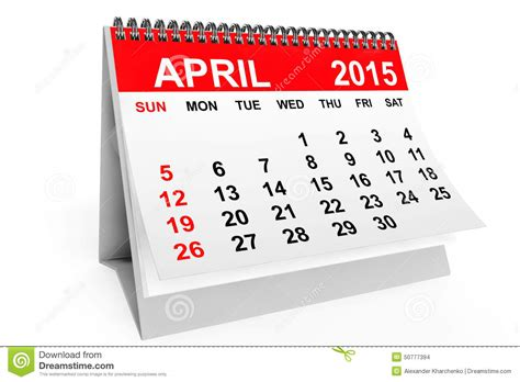 Calendar 2015 April Easter Calendar April 2015 Stock Illustration Image 50777394