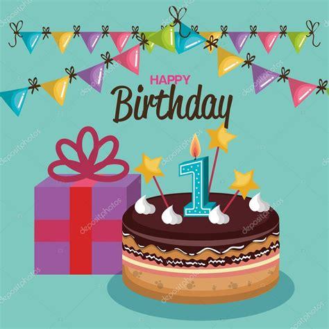 imagenes de feliz cumpleaños con pastel pastel de feliz cumplea 241 os con n 250 mero de vela vector de