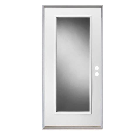 Exterior Metal Doors With Glass Shop Reliabilt Lite Clear Glass Left Inswing Primed Steel Prehung Entry Door With