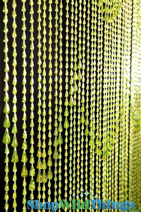 beaded curtains raindrop lime iridescent green beaded