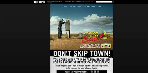 Hot Topic Sweepstakes - hot topic don t skip town sweepstakes