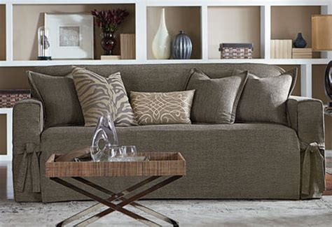 sofa textured tweed one slipcover sure fit sure fit