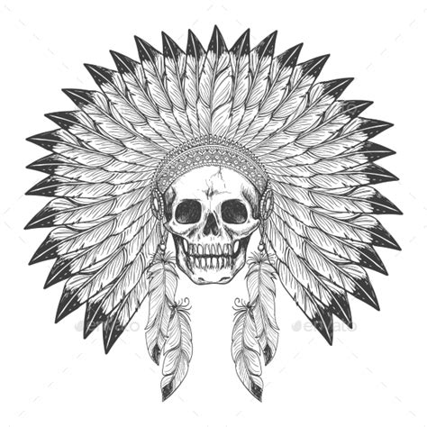 native american indian skull with headdress by vectortatu