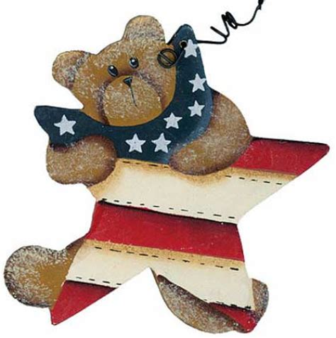 home decor holding company teddy bear holding americana star ornament americana
