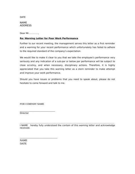 termination letter format for poor attendance sle warning letter to employee for poor attendance