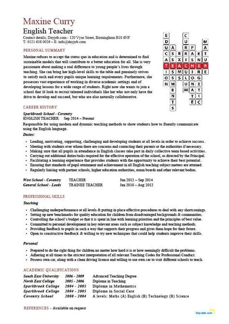 English teacher CV sample, assign and grade class work