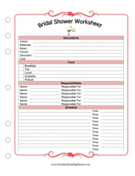printable bridal shower list new wedding planner pages