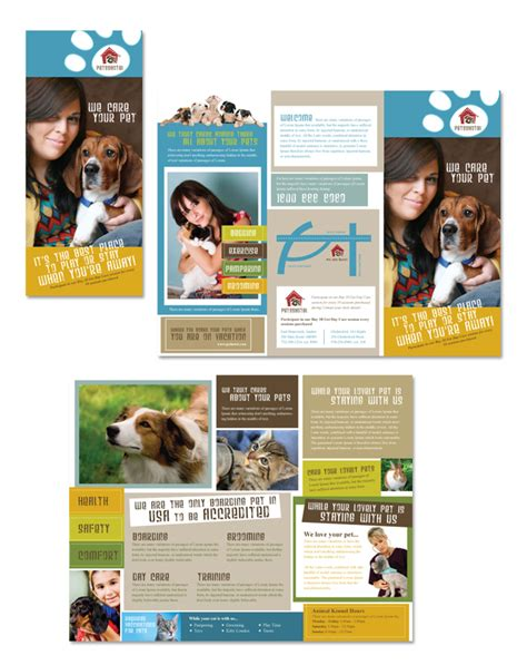 dog kennel amp pet day care tri fold brochure template