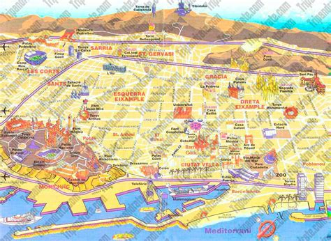 map of barcelona tourist map barcelona