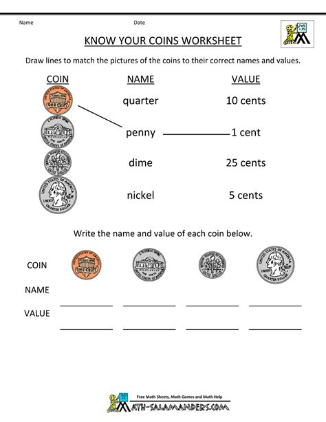 Coin Values Worksheet by Free Math Money Worksheets 1st Grade