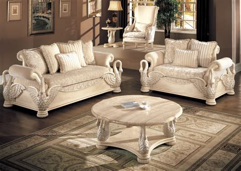 Avignon Antique White Swan Motif Luxury Formal Living Room Living Room And Bedroom Furniture Sets
