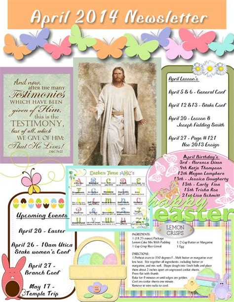 free april newsletter template april relief society newsletter my creations