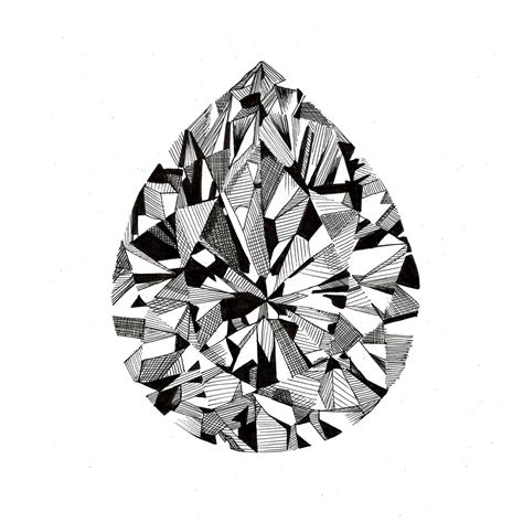 diamond pattern drawing pear cut diamond print 163 10 00 via etsy illustrations