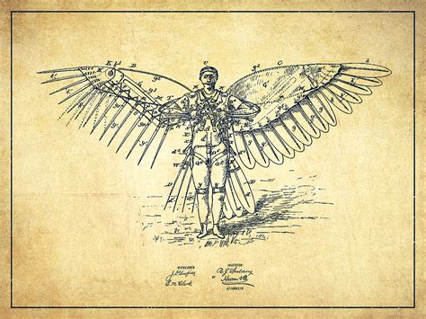 icarus flying machine patent drawing vintage digital art