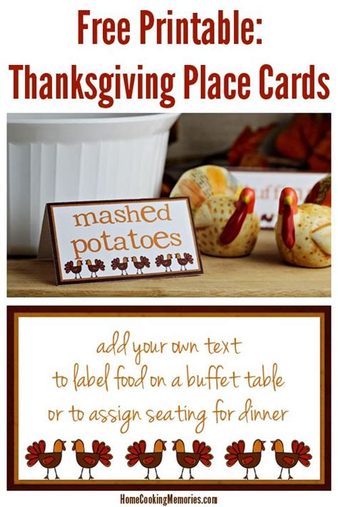 printable thanksgiving food cards thanksgiving dinners free printables and places on pinterest
