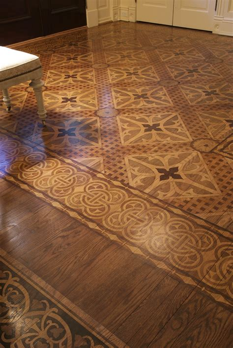 stenciled and stained faux marquetry floor would be so