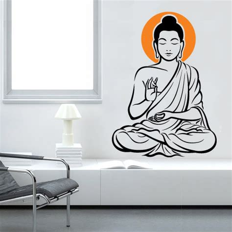 buddha wall sticker vinyl wall decal buddha zen wall decal wallartdecals furnishings on artfire