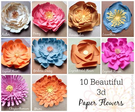 10 beautiful 3d paper flowers crafts 3d