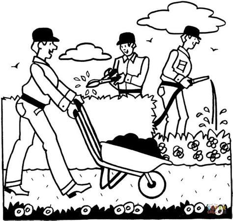 imagenes de hombres trabajando para colorear dibujo de jardineros trabajando para colorear dibujos