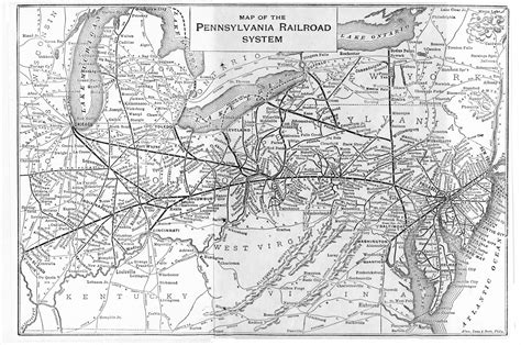 railroad map usa pennsylvania railroad system 1909 map rail usa