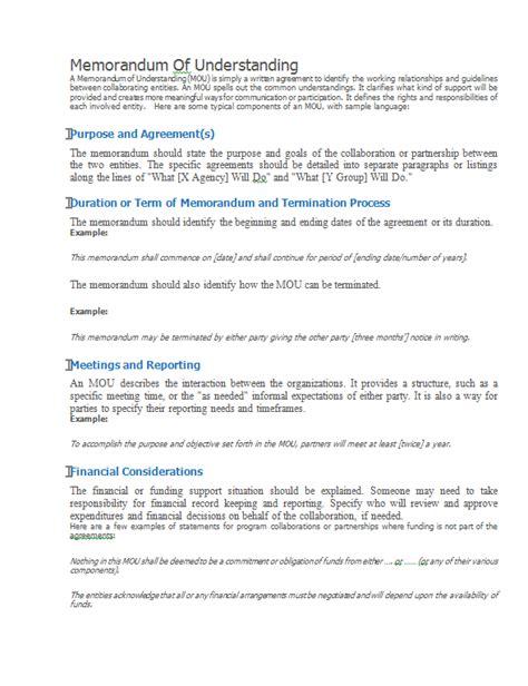 Template For Memorandum Of Agreement memorandum of understanding better evaluation