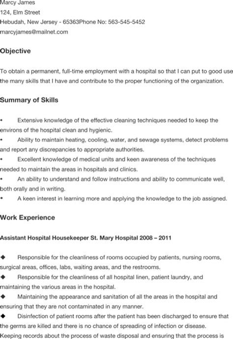 Hospital Custodian Resume Sle Custodian Resume Templates For Excel Pdf And Word