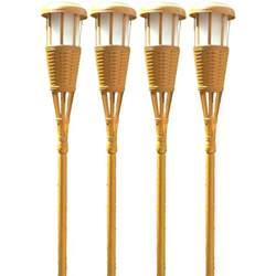 Home Depot Bamboo Blinds Newhouse Lighting Bamboo Solar Tiki Torch 4 Pack