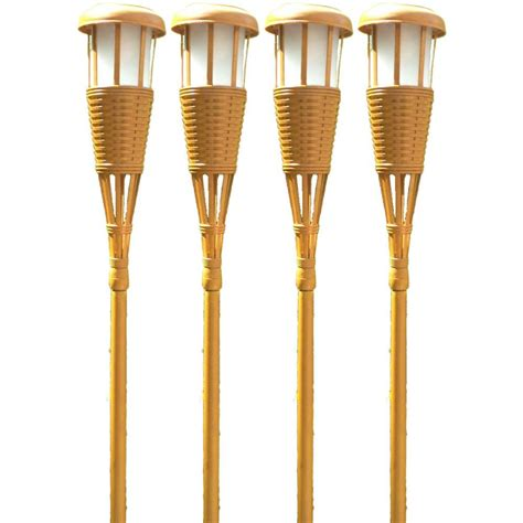solar tiki lights home depot newhouse lighting bamboo solar tiki torch 4 pack