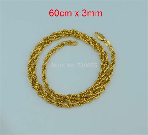 60cm Unisex Figaro Gold Chain 22k Yellow Gold Filled Gf 24mm buy wholesale 22k gold jewelry designs from china