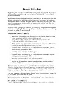 Different Objectives For Resumes by Resume Objectives