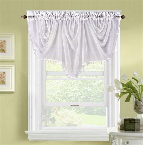 curtains toppers for windows 1pc bonita white voile sheer valance swag topper window